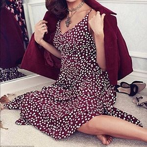 Eva Mendes Burgundy Polka Dot Midi Dress